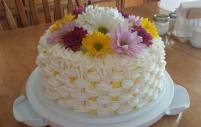 Lemon Chiffon Birthday cake in a basket