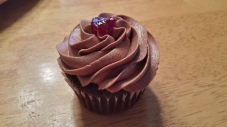Raspberry Filled Chocolate Amaretto Cupcake