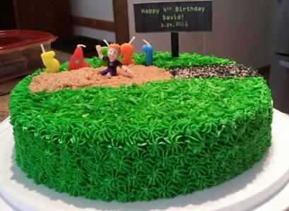 Chocolate Long Jump cake for David