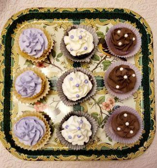 Lemon & lavender cupcakes, vanilla and chocolate.