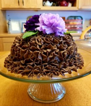 Dark chocolate cake with Dark Chocolate Mint Buttercream.