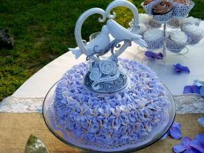Lemon Cake with Lavender Buttercream Frosting.