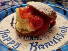 Sufgoniot,filled with cherries & Whipped cream.