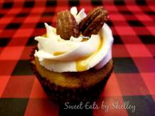 Spice Cake Cupcakes with Maple Buttercream Frosting and honey Glazed Pecans